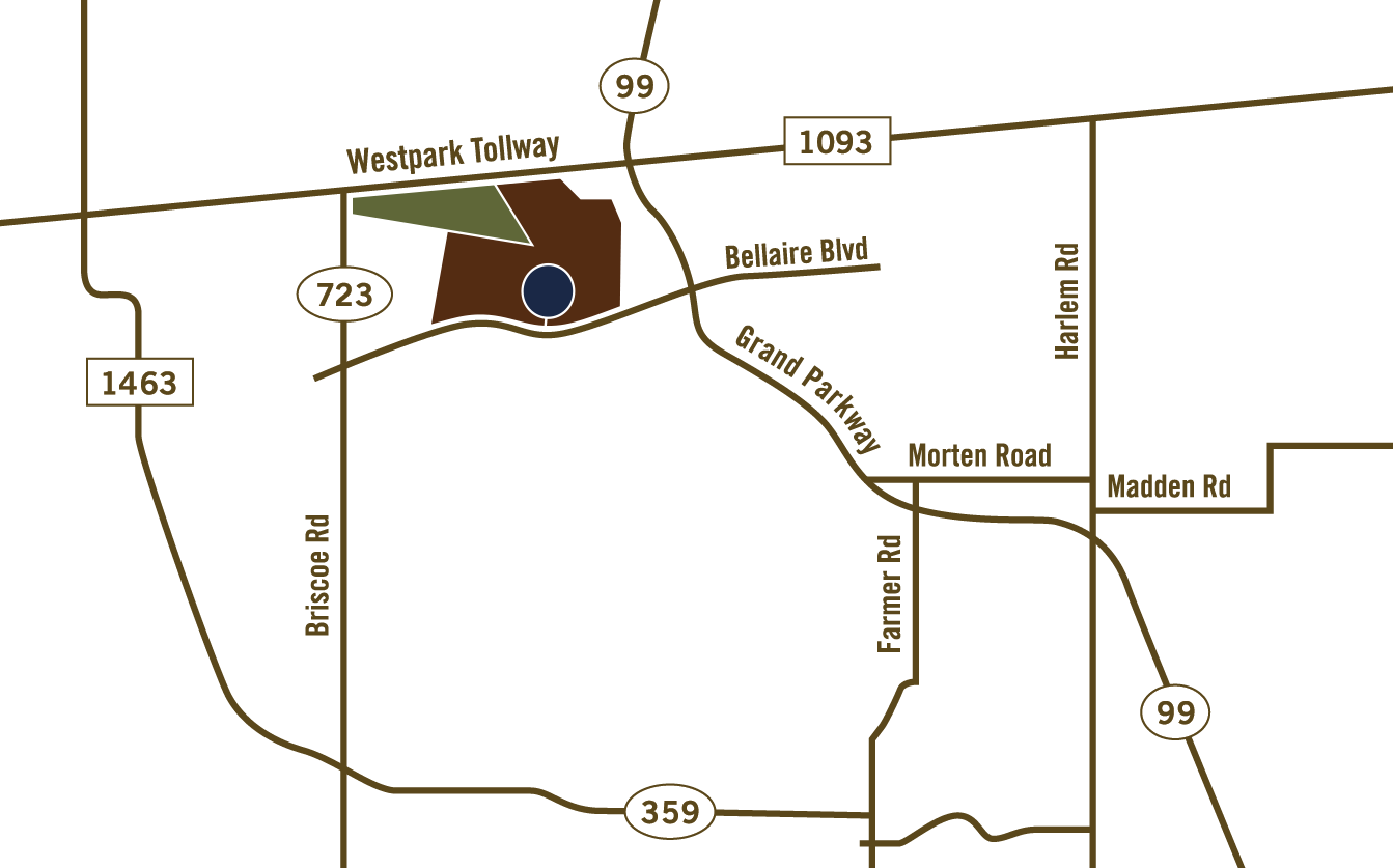 Map of Bella Terra Lakes in Richmond near Houston TX